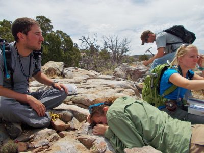 Photo of Geology students working in the field