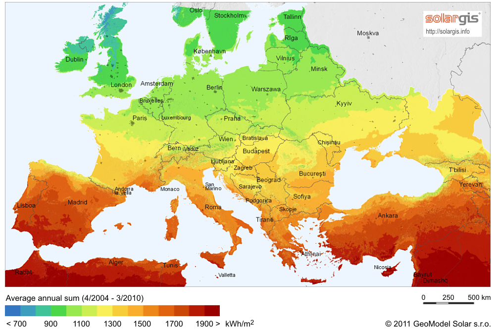 europe natural resources map SolarGIS Solar map Europe en   Warner College of Natural Resources