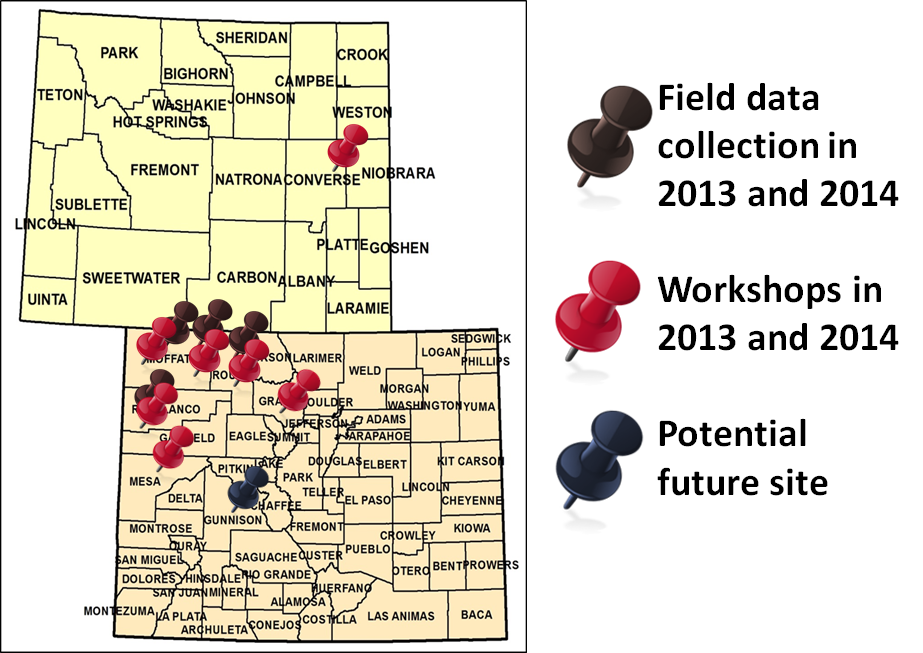 Map of CO/WY field data for LFTL