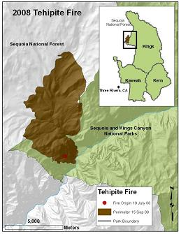 Map of the 2008 Tehipite fire in California