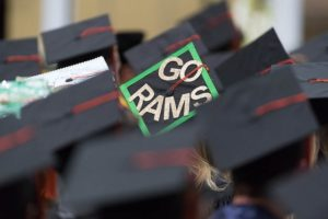 "Graduation cap decorated with ""Go Rams"""