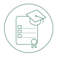 Diploma and graduation cap icon