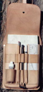 Photo of field notebook kit in leather pouch