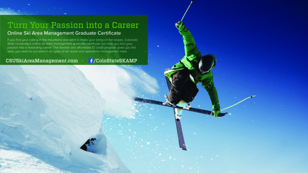 a skier going off a jump with information about an online ski area management graduate certificate