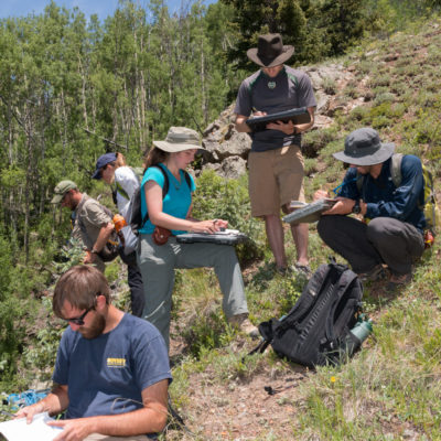 Photo of students doing field mapping.