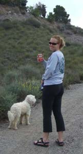 Jean Chambers hiking with her dog