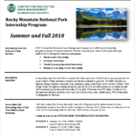 Rocky mountain national park internship flyer