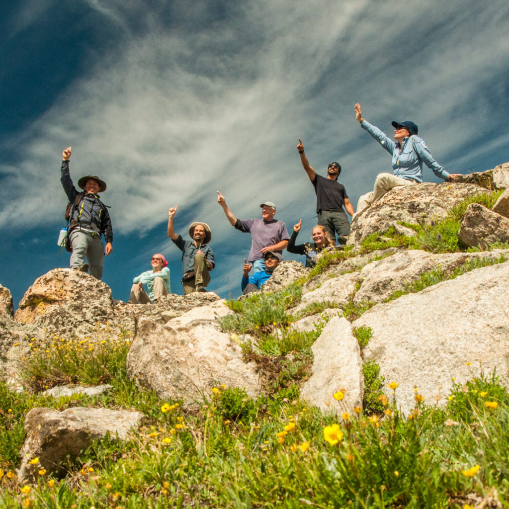 eight people on a ridge raising their hands