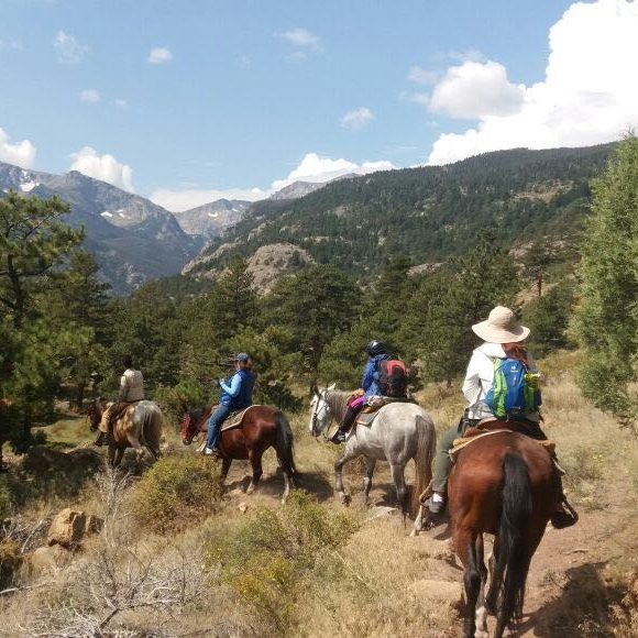 a line of people riding horses on a mountain trail
