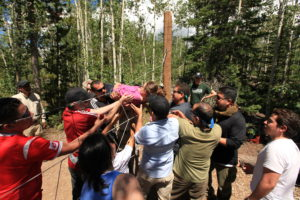 a group of people doing a trust exercise game in a forest