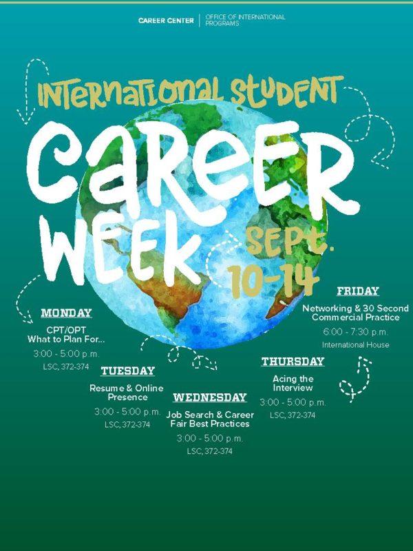 poster of international student career week