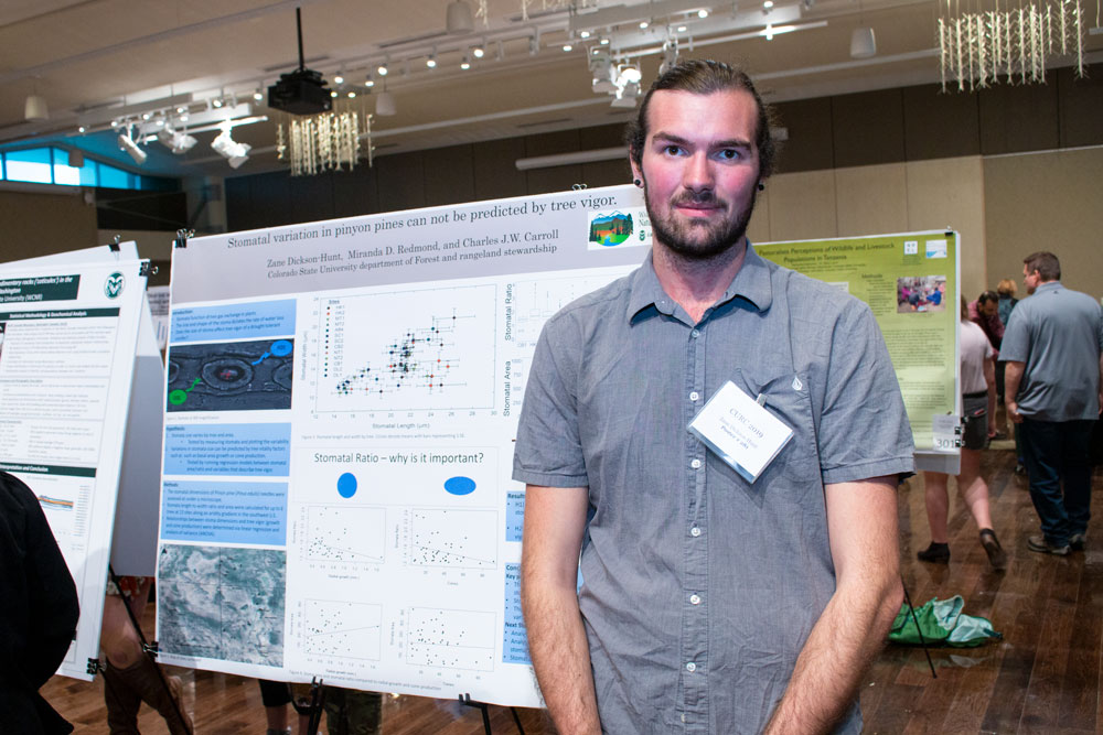 undergraduate stomata researcher at his poster