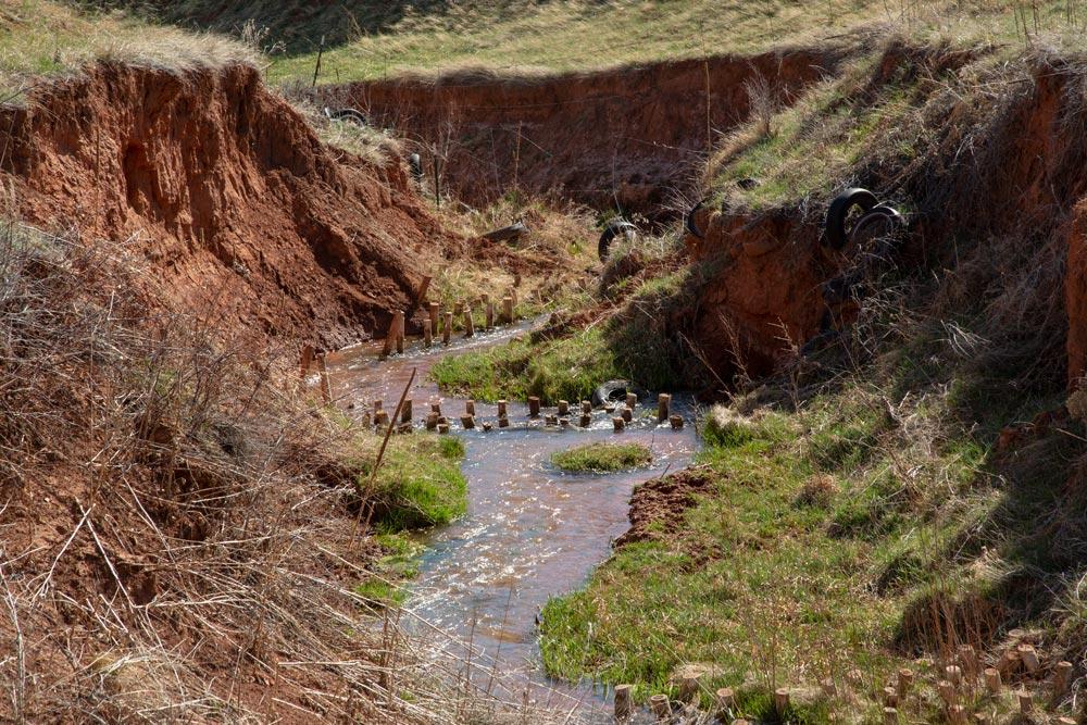 creek running through a gully