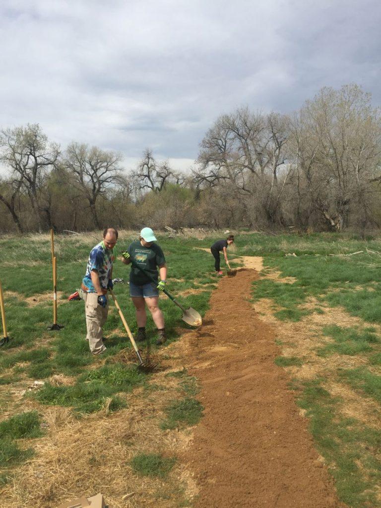 Volunteers re-building a trail