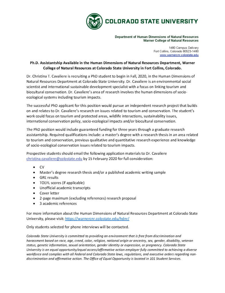 PhD assistantship announcement