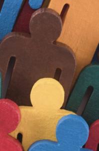 multi-color wooden people cutouts